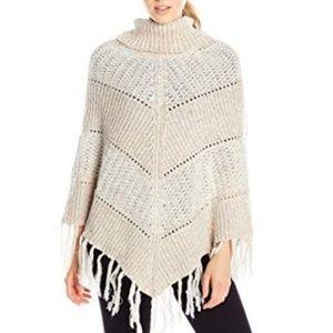 XOXO Multi-Stitch Fringe Poncho Sweater cream sz M